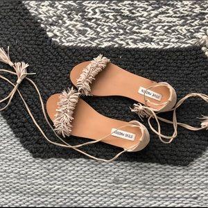 Suede sandals.